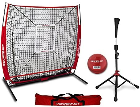 PowerNet 5×5 Practice Net Deluxe Tee Strike Zone Weighted Training Ball Bundle Baseball Softball Pitching Batting Coaching Pack Work on Pitch Accuracy Build Confidence at The Plate