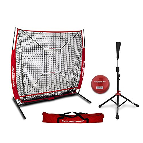 PowerNet 5x5 Practice Net + Deluxe Tee + Strike Zone + Weighted Training Ball Bundle (Red) | Baseball Softball Pitching Batting Coaching Pack | Work on Pitch Accuracy | Build ()