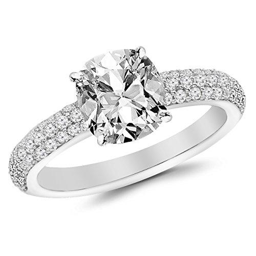 2 Ctw Platinum Classic Triple Row Diamond Engagement Ring (1.5 Ct F Color VS2 Clarity Cushion Cut Center)