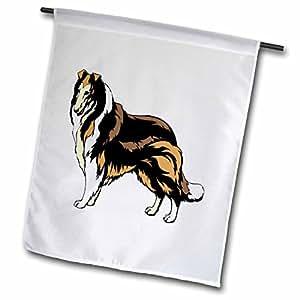 Florene Childrens Art II - Cartoon Collie Dog - 18 x 27 inch Garden Flag (fl_47886_2)