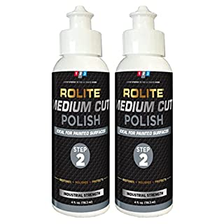 Rolite Medium Cut Polish (4 fl. oz.) for Removing Compound Scratch & Swirl Marks for Automotive Clear-Coat Paints. Low Sling, Easy Clean-up 2 Pack