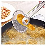Promisen Mesh Strainer Set,Multi-Functional Stainless Steel Strainers,Non Slip Handles Filter Spoon with Clip for Kitchen Food Oil-Frying Salad BBQ Filter (Sliver)