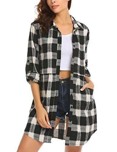 HOTOUCH Womens Long Sleeve Collared Button Down Plaid Flannel Shirt (Black XL)