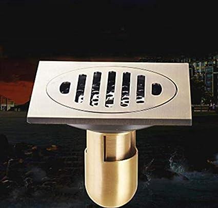 Drenaje de piso Desagüe de piso cuadrado 10 cm canaleta de ducha trampa de drenaje de piso de latón G baño con trampa de agua: Amazon.es: Coche y moto