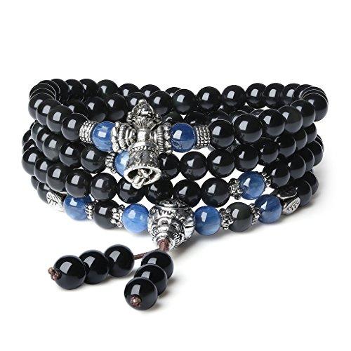 AmorWing 108 Mala Beads Obsidian Tibetan Prayer Wrap Bracelet Necklace