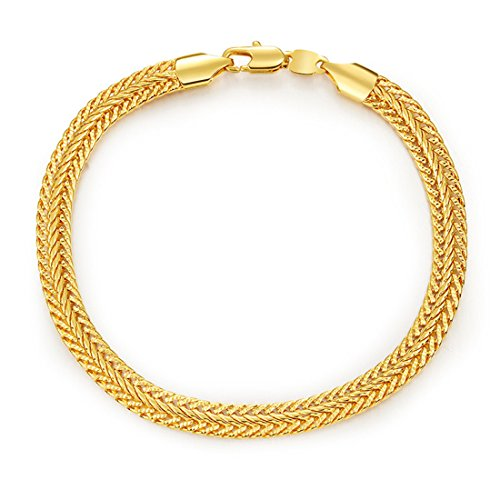 - WELRDFG Men's Jewelry 18K Gold Plated 6mm Foxtail Link Chain Bracelet