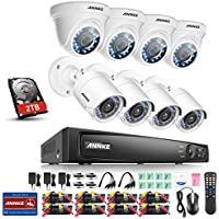 Annke 8-Channel 1080P Security System with 2TB Surveillance Hard Disk and (8) 2.0MP 1920TVL Weatherproof Cameras with IR-cut Night Vision,Motion Detection and Email Alert