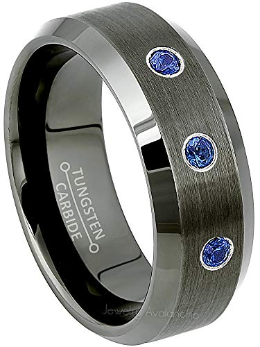 Sapphire Diamond Tungsten - Jewelry Avalanche 0.21ctw Blue Sapphire 3-Stone Mens Tungsten Ring - September Birthstone Ring - 8MM Beveled Edge Gunmetal (Dark Gray) Mens Tungsten Carbide Wedding Band, Anniversary Ring - 12