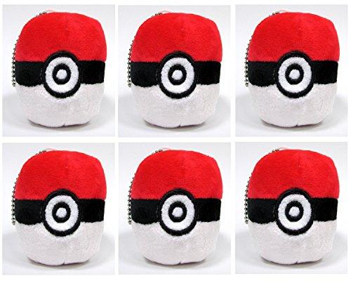 Pokemon Catcher   6 Piece Pok  Ball Plush Party Favor Set Featuring 6 Red Pok  Balls