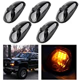 CCIYU 5 Pack Smoke Amber LED Cab Roof Marker Clearance Light Lamp Smoked Covers For 1999-2002 Dodge Ram 2500 3500 4500 Cab Marker