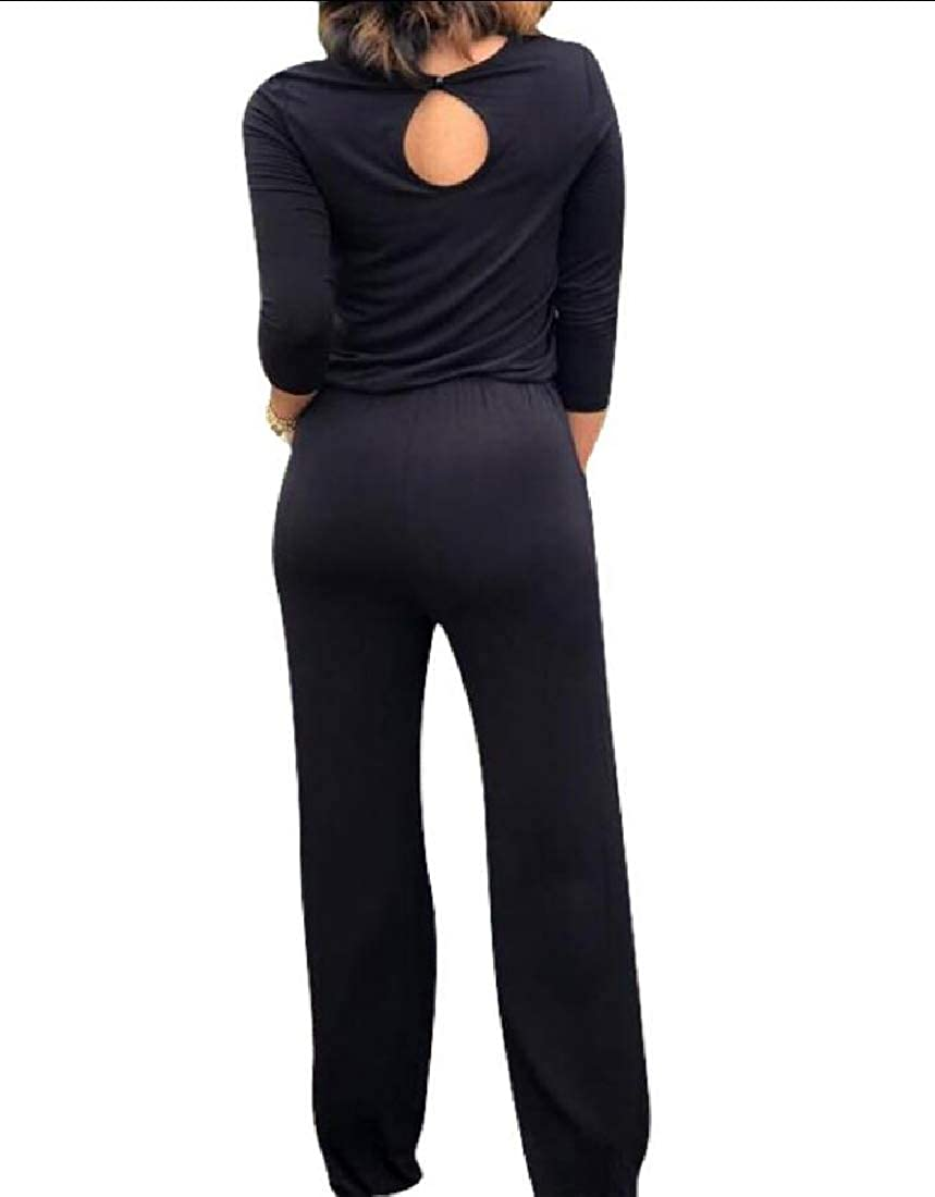 GAGA Womens Long Pant Rompers Loose Fit Drawstring Waist Long-Sleeve Jumpsuit
