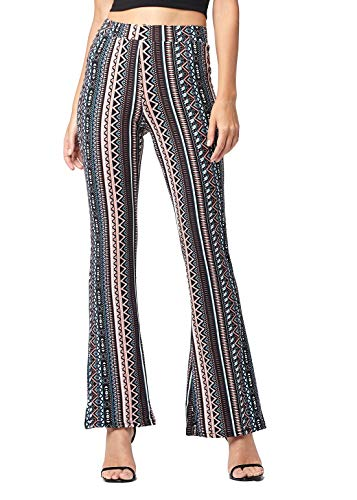 (Buttery Soft High Waisted Stretch Fit to Flared Pants for Women - Wide Leg Bell Bottom - Boho - War Paint - Large - GL-909-L )