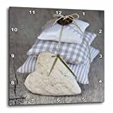 3dRose Andrea Haase Still Life Photography - Stack Of Fabric Pillows And Heart Photography - 10x10 Wall Clock (dpp_268184_1)