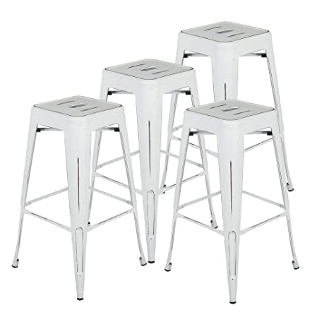 Strange Bonzy Home Metal Bar Stools 30 Inch Distressed Industrial Indoor Outdoor Patio Bar Stools High Backless Stackable Home Kitchen Dining Stool Backless Creativecarmelina Interior Chair Design Creativecarmelinacom