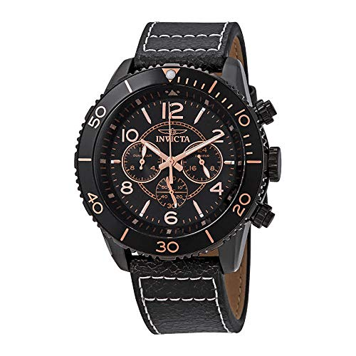 (Invicta Men's Aviator Stainless Steel Quartz Watch with Leather Calfskin Strap, Brown, 29 (Model: 24554)
