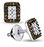 10K White Gold Emerald Shape Halo Studs Channel Set Chocolate Brown & White Diamond Earrings (1/3 cttw.)
