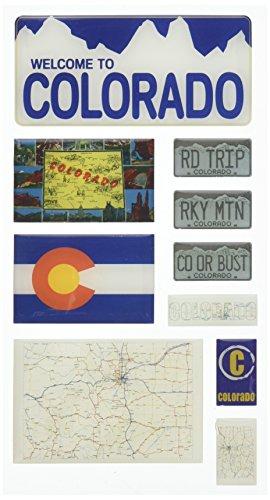 Reminisce Mini Maps Self-Adhesive Epoxy Embellishments 10 Per Package, Colorado