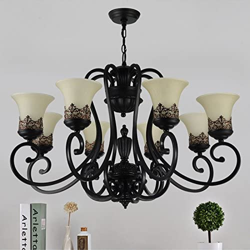 8-Light Black Wrought Iron Chandelier with Glass Shades D-6318-8S