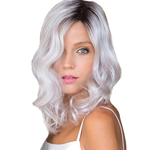 TopWigy Ombre Wigs 12 Inch Curly Wavy Wigs Fashion Synthetic Dark Root to White Wigs for Black White Women+ Wig - Me Warehouse Store Near