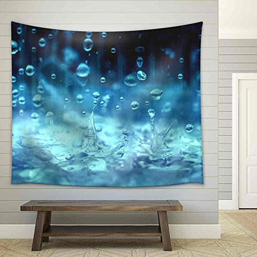 Blue Color Tone of Close Up Rain Water Drop Falling to The Floor in Rainy Season Fabric Wall