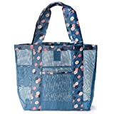Diswa Mesh Beach Large Bag - Toy Tote Bag - Large Lightweight Market, Grocery & Picnic Tote with Oversized Pockets