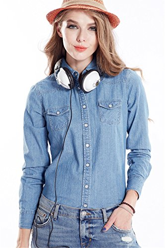 Button Blue Mujer Down Dqq Camisas 0017 Light Para Y6q65xF