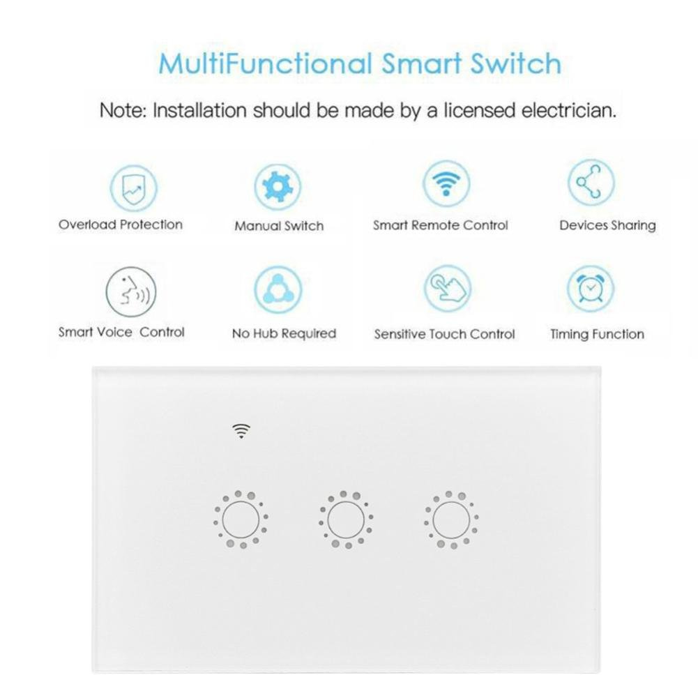 Switch Capacitive Hand Switch Wireless Remote Control Glass 3-gang Smart Home AU/US Crystal Waterproof Glass Touch Screen Light Switch&Mini Remote Wifi phone control (White) by Liu Nian (Image #6)