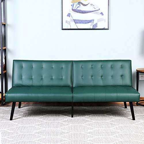 Bonzy Home Futon Sofa Bed Sofa CBonzy Home Futon Sofa Bed - PU Leather Futon Couch of 2 Seats - Modern Style Futons, Convertible Living Room Sofa for Small Space - Sofa Green Leather