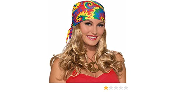 Amazon.com: Forum Novelties Womens Hippie Head Scarf W Wig, Blonde, Standard: Toys & Games