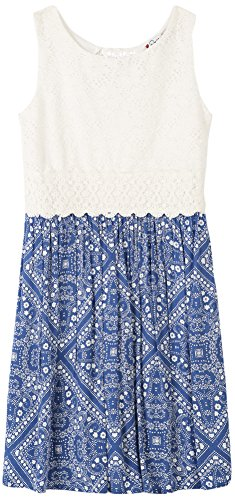 Speechless Girls' Big Lace Top with Printed Skirt Dress, Denim/Ivory 8