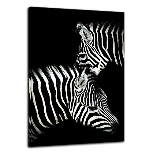 Zebra Photo - Urttiiyy Black and White Two Zebra Wall Art of Animal Prints on Canvas Pictures for Living Room Decor Wall Artwork HD Prints for Home with Framed Stretched Ready to Hang