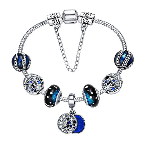 Blue Moon Silver Charm (Presentski 925 Silver Plated Romantic Blue Night Sky Fashion Charm Bracelet with CZ Moon Stars Hearts, Christmas Gift for Women, 7.9 Inches (20 cm) Snake Chain)