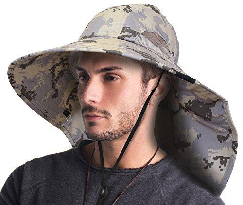 Terra Unisex Sun Hat With Neck Flap/Wide Brim/Adjustable Strap Fishing Safari Camouflage Camping Cap