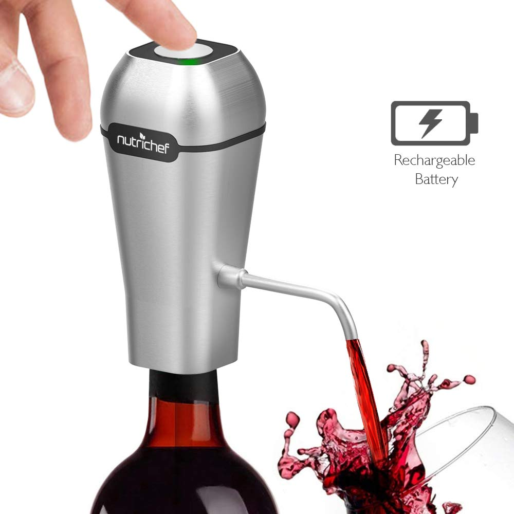 NutriChef Stainless Steel Electric Wine Aerator - Rechargeable Battery Pocket and Travel Bottle Tap Aerating Dispenser Pump Set and Accessories   Red/White Wine -PSLWPMP250, One Size by NutriChef (Image #1)