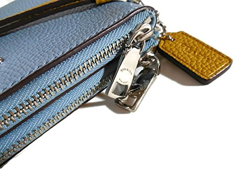 Coach Colorblock Double Corner Zipper Blue Sunflower Yellow Leather Wristlet, 64799 by Coach (Image #6)