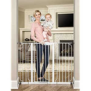 Regalo 38-Inch Extra Tall and 49-Inch Wide Walk Thru Baby Gate, Includes 4-Inch and 12-inch Extension Kit, 4 Pack of Pressure Mount Kit and 4 Pack of Wall Mount Kit 56