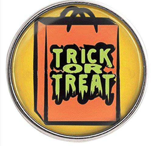 Rockin Angels Orange Halloween Trick or Treat 18mm Snap Charm For Ginger Snaps Magnolia -