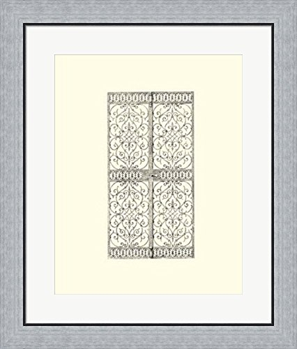 B&w Wrought Iron Gate (B&W Wrought Iron Gate VIII Framed Art Print Wall Picture, Flat Silver Frame, 23 x 27 inches)