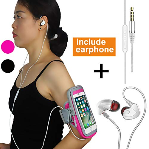 iPhone Armband Carrier with Earbuds for Running Workouts Jogging Biking fits iPhone X 8 Plus 8 7 Plus 7 6 Plus 6 6S,Samsung Galaxy S9 S8 Edge/Note 6 7,Running Armband with Zipper Pouch Women(Pink)