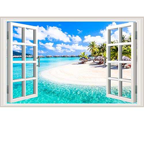 3D Beach Seascape Fake Windows Wall Stickers Removable Faux Windows Wall Decal Landscape Wall Decor for Livingroom Bedroom (Beach Seascape)]()