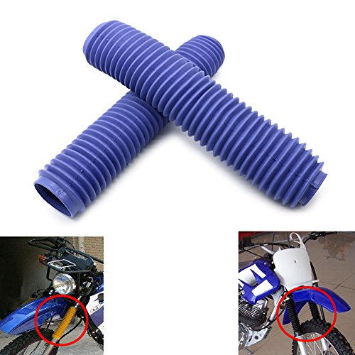 Alpha Rider Universal Motorcycle Off Road Blue Rubber Fork Cover Gaiters Gaitors Boots Shock for Honda Yamaha Kawasaki Suzuki ()