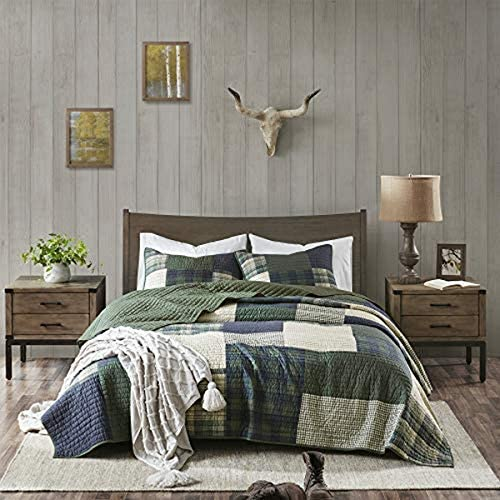 """Woolrich 100% Cotton Quilt Reversible Plaid Cabin Lifestyle Design All Season, Breathable Coverlet Bedspread Bedding Set, Matching Shams, Full/Queen(92""""x96""""), Mill Ceek, Green"""