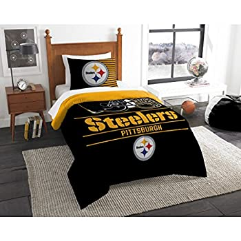 Image of 2 Piece NFL Pittsburgh Steelers Comforter Set Twin Size, Sports Fan Dorm Bedding, Draft National Football League Themed Team Logo Printed College Unisex Sport Fans Bedroom, Yellow Black Multicolor