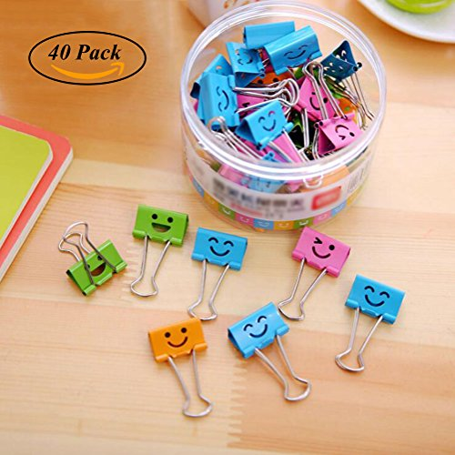 Coideal 40 Pack Colored Paper Clips with Cute Lovely Smiling Face, File Organizer Paper Holder Metal Binder Clips, Assorted Color (0.75 inch, Small) Clip File