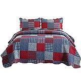 Jessy Home Summer Quilts King Size,Plaid Patchwork Coverlet Set,Reversible Bedspread Set,3 Pieces 1 Quilts 2 Pillow Shams