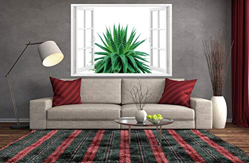 SCOCICI Window Mural Wall Sticker/Plant,Medicinal Aloe Vera with Vibrant Colors Indigenous Species Alternative Natural Remedy,Fern Green/Wall Sticker Mural