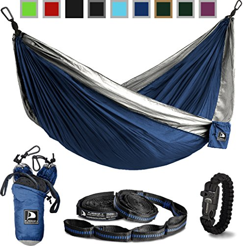 Flagship-X Double Camping Hammock with Tree Straps and Survival Bracelet fire Starter. for Backpacking, 2 Person Travel Hammock. (Blue & Grey)]()