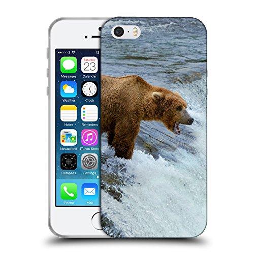 Just Phone Cases Coque de Protection TPU Silicone Case pour // V00004092 Ours chasse dans la rivière de montagne // Apple iPhone 5 5S 5G SE