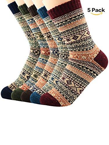 Zando Athletic Retro Warm Soft Wool Crew Socks for Women Winter Autumn Cotton Knit Thick Print Cabin Socks 5 Pack 5 Pack - Chic Diamond Shoe Size 6-11