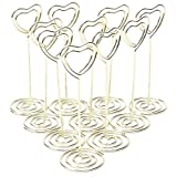 WSERE 10 Pack Heart Shape Table Number Card Holder Clip Photo Display Stand Picture Stands(Gold)
